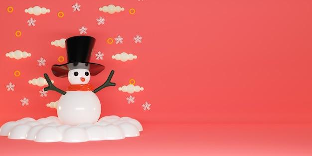Fundo de feliz natal com boneco de neve bonito. renderização 3d