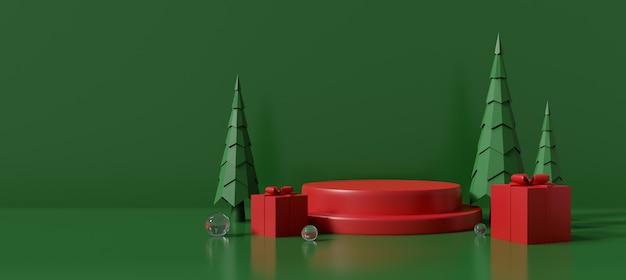 Fundo de feliz natal com caixa de presente vermelha. pedestal de renderização em 3d para carrinho de exposição de produtos de banner de venda de celebração, palco do pódio.