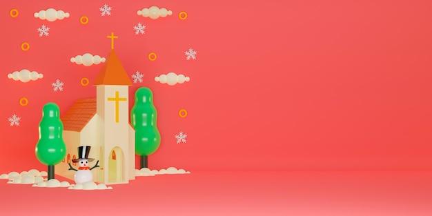 Fundo de feliz natal com igreja, boneco de neve, árvores, neve e elementos. renderização 3d
