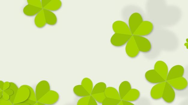 Fundo de feriado do dia de saint patrick com trevos verdes. ilustração 3d de luxo e estilo elegante para férias