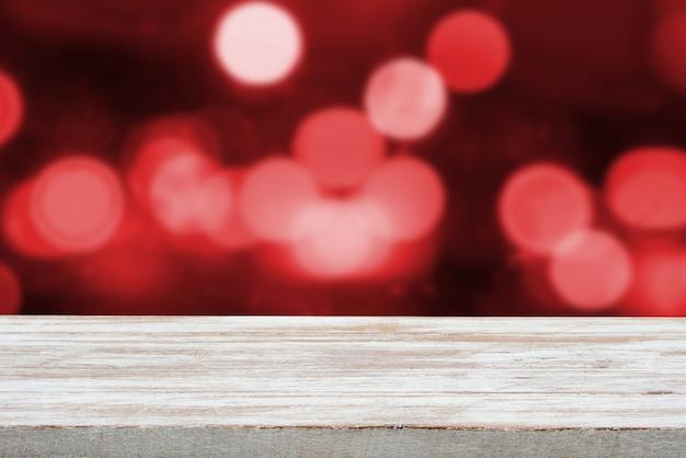 Fundo de férias de natal com mesa vazia de deck de madeira
