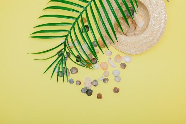 Fundo de férias de verão. conceito de verão tropical com acessórios de moda mulher, folhas e conchas do mar em fundo amarelo.