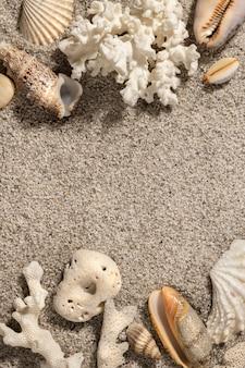Fundo de férias de verão na praia com conchas e areia vista superior cópia espaço