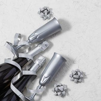 Fundo de férias festivas com garrafas de champanhe e taças de prata decoradas serpentina brilhante