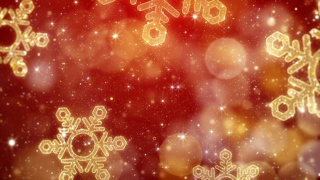 Fundo de flocos de neve de natal dourado com tema bokeh vermelho brilhante