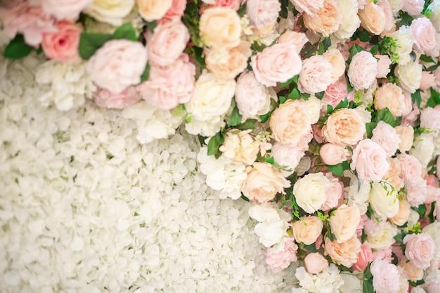 Fundo de flor de casamento branco e decoração de casamento