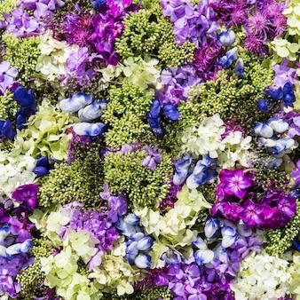 Fundo de flores bonitas. vista do topo