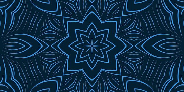 Fundo de flores de linha encaracolada abstrata de cor azul. padrão de cores brilhantes, papel de parede, formas curvas delicadas, caleidoscópio
