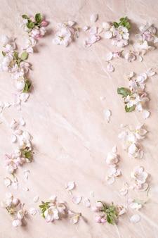 Fundo de florescência plana maçã lay