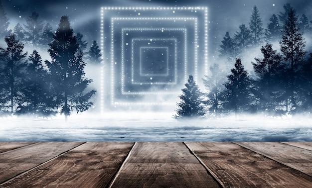 Fundo de floresta de inverno abstrato escuro.