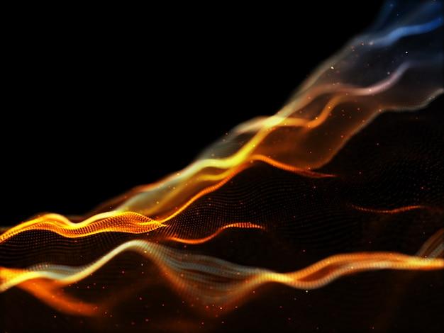 Fundo de fluxo de partículas modernas 3d com pontos cibernéticos