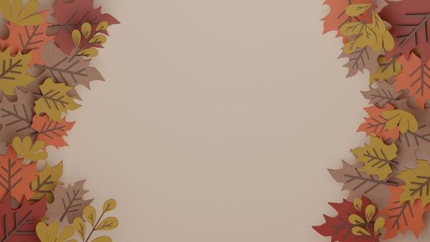 Fundo de folha de bordo de outono 3d com imagem de alta qualidade renderizada