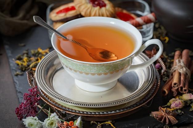 Fundo de folhas de chá