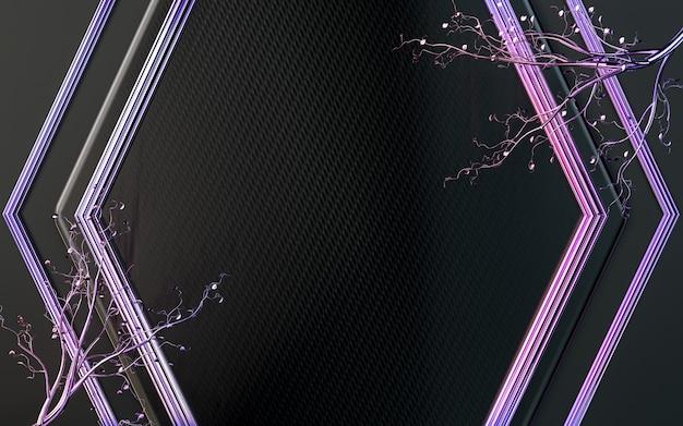 Fundo de forma geométrica abstrata roxa escura com folhas renderização em 3d Foto Premium