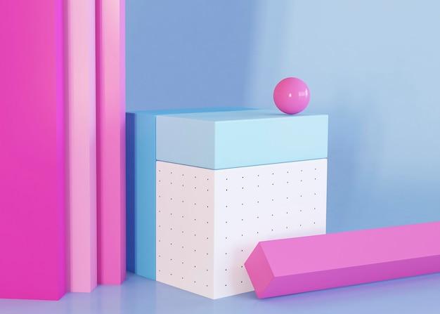 Fundo de formas geométricas de renderização 3d
