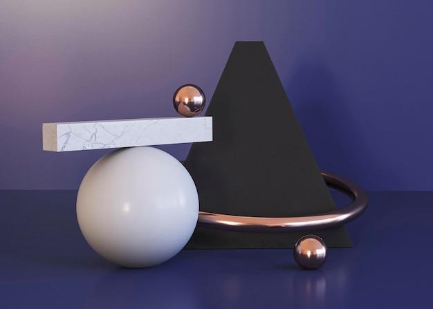 Fundo de formas geométricas e pirâmide