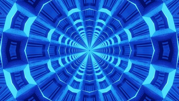 Fundo de fractal simétrico brilhando com luz de néon azul dentro do túnel