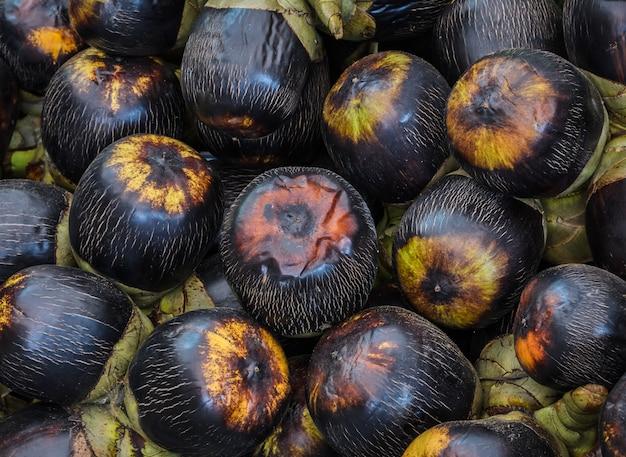 Fundo de frutas de palma de açúcar