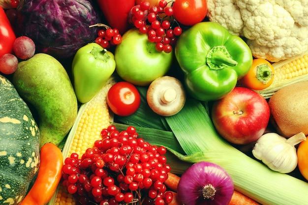 Fundo de frutas e vegetais de outono