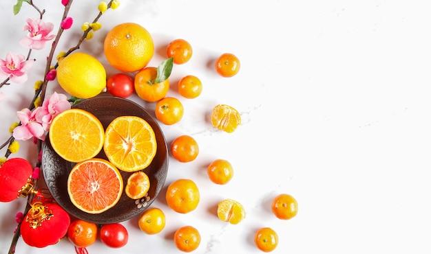 Fundo de frutas frescas, tirado do topo