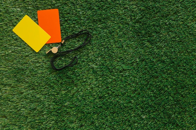 Fundo de futebol com cartas e copyspace