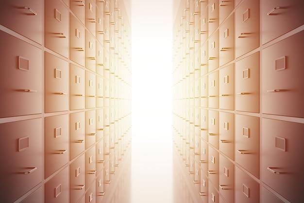 Fundo de gavetas de armários de arquivo dados de documentos de escritório e armazenamento de arquivo de informações