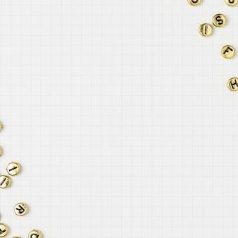 Fundo de grade de borda de contas de letras douradas