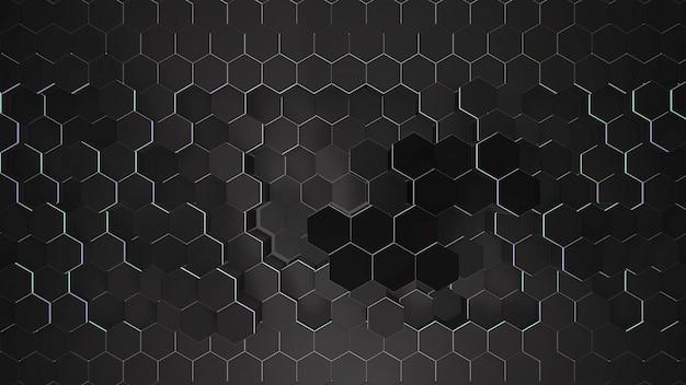 Fundo de grade hexadecimal preto escuro, fundo abstrato. ilustração 3d de estilo elegante e luxuoso para negócios e modelo corporativo Foto Premium