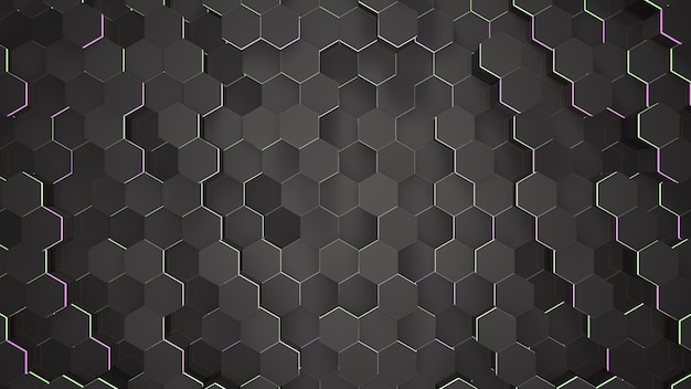 Fundo de grade hexadecimal preto escuro, fundo abstrato. ilustração 3d de estilo elegante e luxuoso para negócios e modelo corporativo