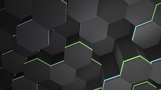 Fundo de grade hexadecimal preto escuro, fundo abstrato