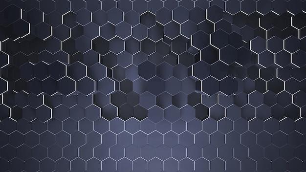 Fundo de grade hexagonal azul escuro pequeno, fundo abstrato