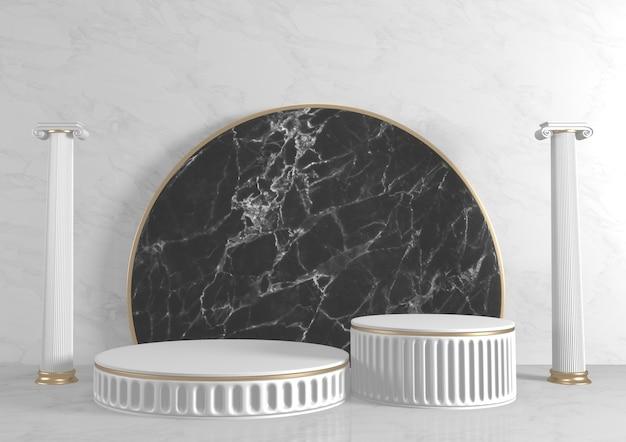 Fundo de granito preto moderno e pódio preto mostram produtos cosméticos geométricos. renderização 3d