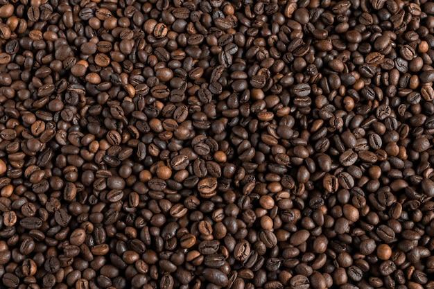 Fundo de grãos de café, projeto de layout com espaço de cópia