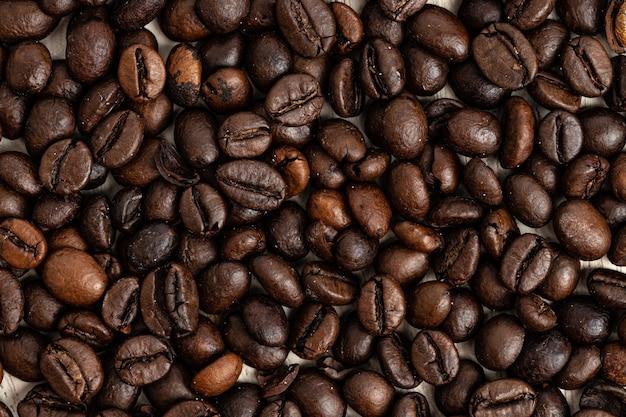 Fundo de grãos de café torrados, vista superior