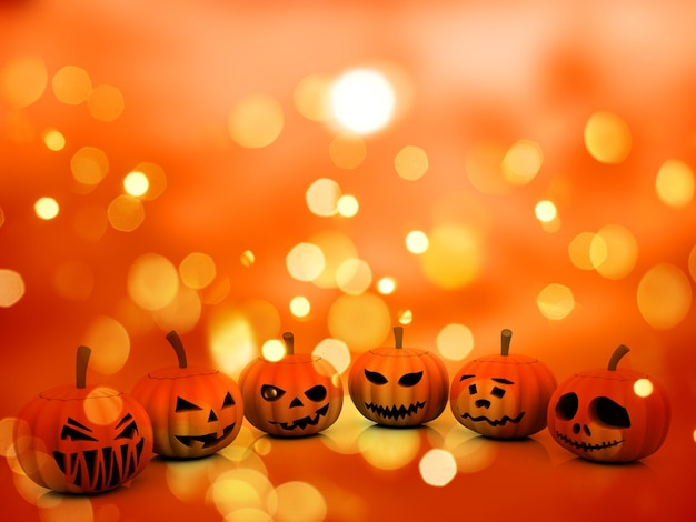 Fundo de halloween com abóboras 3d