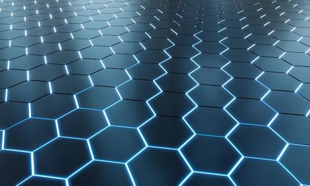 Fundo de hexágonos preto e azul brilhante na superfície de metal prata renderização em 3d