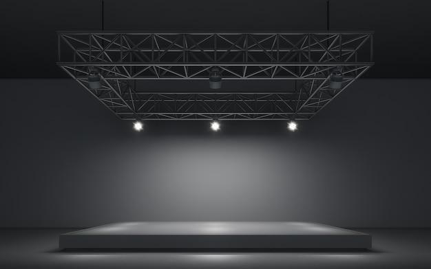 Fundo de holofotes e lâmpada com palco