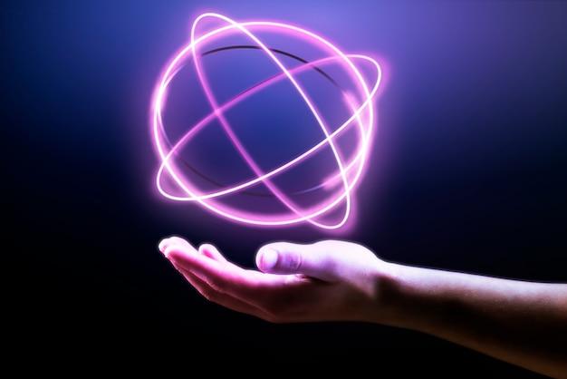 Fundo de holograma de átomo mostrando remix de tecnologia científica mão do homem