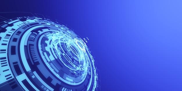 Fundo de holograma de interface digital hud azul abstrato