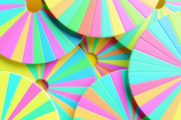Fundo de ilustração 3d com círculos coloridos divididos em um grande número de setores. gráfico de pizza