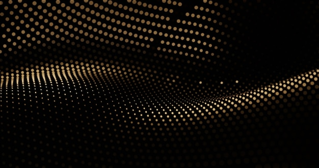 Fundo de ilustração 3d de luxo dourado com cortinas de partículas