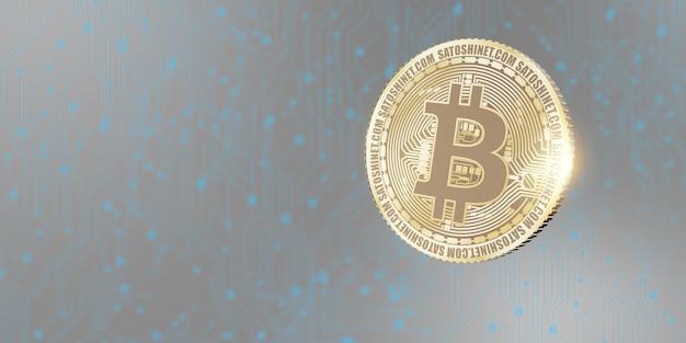Fundo de ilustração 3d de moeda bitcoin
