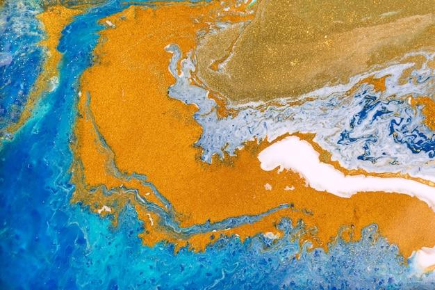 Fundo de impressão acrílico líquido abstrato dourado e azul