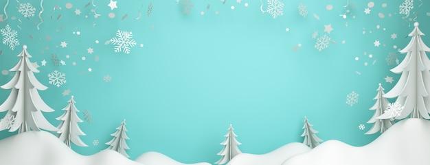 Fundo de inverno com flocos de neve de pinheiro cortados em papel, copie o espaço