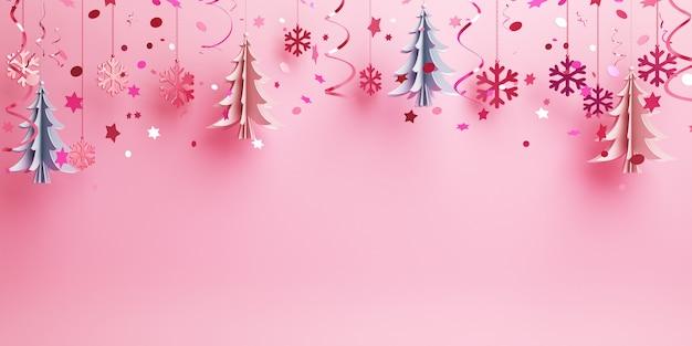 Fundo de inverno com papel pendurado corta flocos de neve de pinheiro em rosa