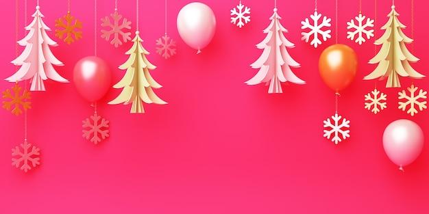 Fundo de inverno com papel suspenso, corte balão de flocos de neve de árvore do abeto em vermelho, copie o espaço