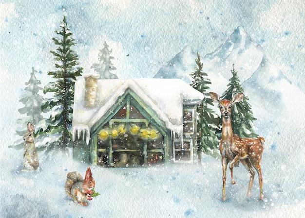 Fundo de inverno ilustração floresta neve casa de campo montanhas animais selvagens