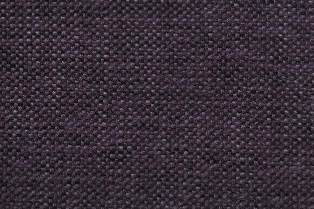 Fundo de lã tricotado violeta escuro com um padrão de pano macio e fofo. textura de closeup de têxteis.