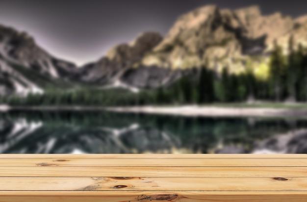 Fundo de lago e cordilheira com expositor de mesa de madeira