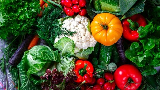 Fundo de legumes. diferentes vegetais frescos da fazenda